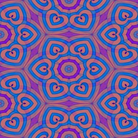 secession: Kaleidoscopic blue purple decorative seamless pattern - digitally rendered design