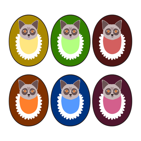 bibs: Set of deep colors puppy heads with bibs - design for goods marking Illustration