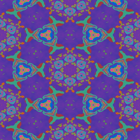 centralized: Abstract blue turquoise violet red pink decorative ornamental floral centralized kaleidoscopic pattern