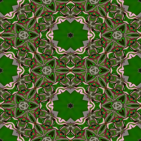 sidebar: Abstract green tileable seamless regular ornamental fractal pattern