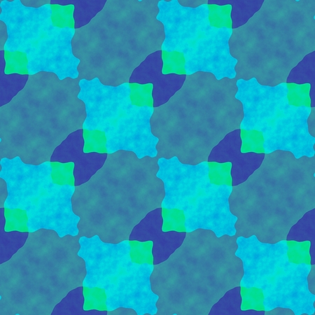 Abstract blue green turquoise seamless oblique pattern in op art style Stock Photo