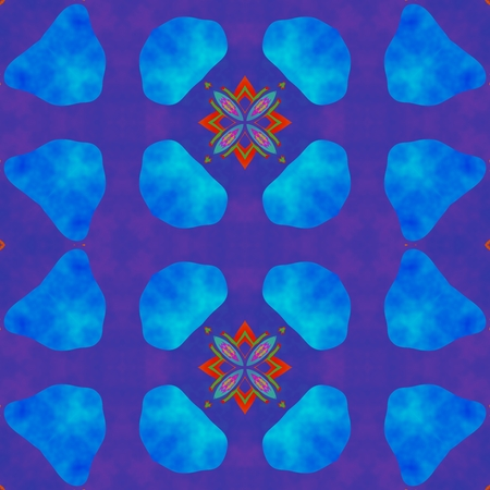 blue violet: Abstract seamless blue violet red ornamental kaleidoscopic pattern in tie-dye style