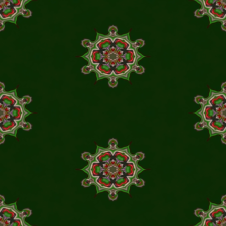 regular: Abstract green tileable seamless regular ornamental fractal pattern
