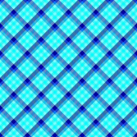 textil: Blue seamless oblique checkered plaid with fabric texture Stock Photo