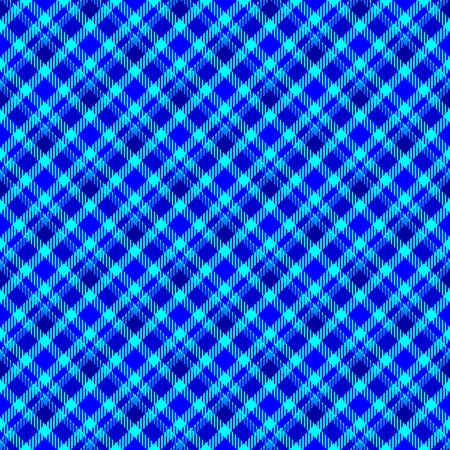 skew: Blue seamless oblique checkered plaid with fabric texture Stock Photo