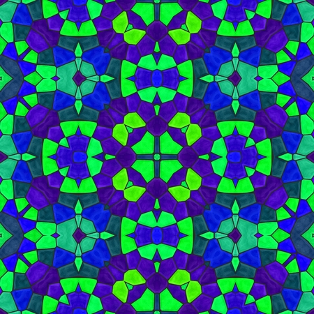 polychromatic: Abstract violet blue green turquoise ornamental mosaic seamless pattern Stock Photo