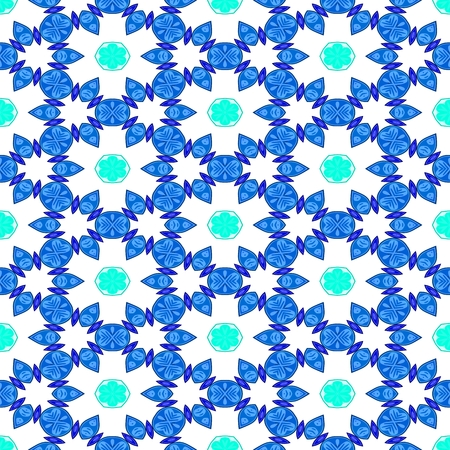 starlit: Blue white decorative kaleidoscopic fractal floral starry regular mirroring vibrant optimistic playful beautiful pattern