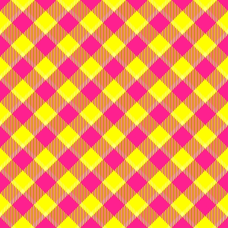 weaved: Weaved fabric check diagonal plaid pattern - red yellow white  tartan Stock Photo