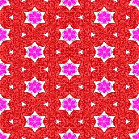Red pink white decorative kaleidoscopic fractal floral starry regular mirroring vibrant optimistic playful beautiful pattern Stock Photo