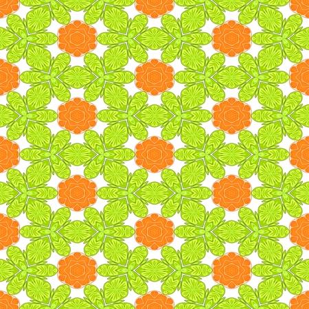 Orange yellow white decorative kaleidoscopic fractal floral starry regular mirroring vibrant optimistic playful beautiful pattern Stock Photo