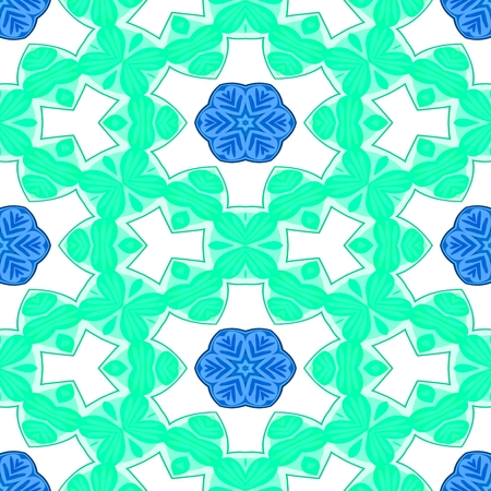 able: Blue white decorative ornamental abstract tile able floral pattern Stock Photo