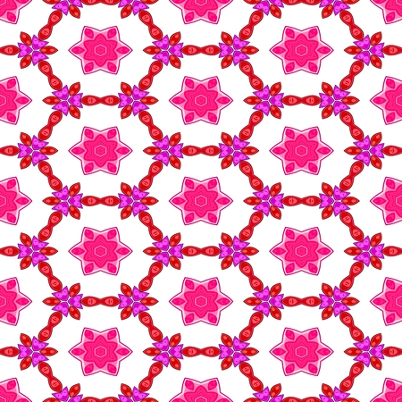 playful: Pink white decorative kaleidoscopic fractal floral starry regular mirroring vibrant optimistic playful beautiful pattern Stock Photo