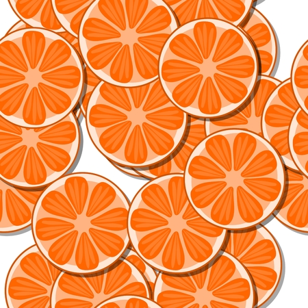 motive: Decorative orange white seamless pattern with cartoon stylized tangerine or pomelo citrus motive