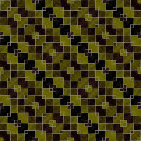 diagonally: Abstract oblique striped gold ocher brown black kaleidoscope background with squared tiles Stock Photo
