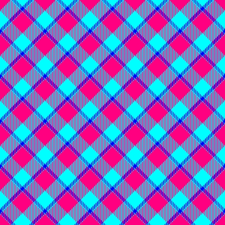 hanky: Blue pink weaved fabric check diagonal plaid pattern Stock Photo