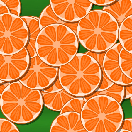 sappy: Decorative orange seamless cartoon stylized tangerine or pomelo citrus slices motive on green background