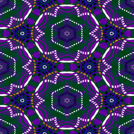 mirroring: Kaleidoscopic violet green white decorative floral tile - digitally rendered seamless colorful pattern Stock Photo