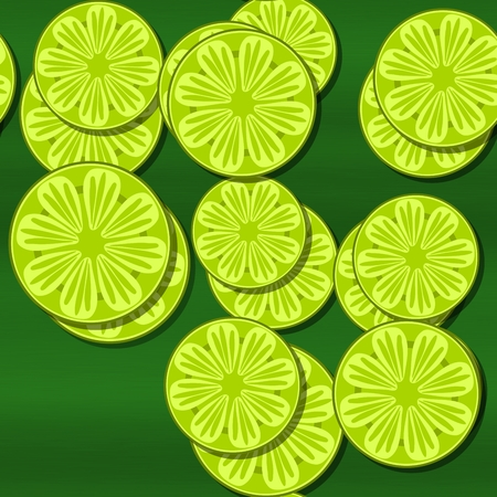 sappy: Decorative optimistic yellow green seamless pattern with cartoon stylized lemon or lime citrus motif