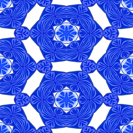 tile able: Blue white decorative ornamental abstract tile able floral pattern Stock Photo