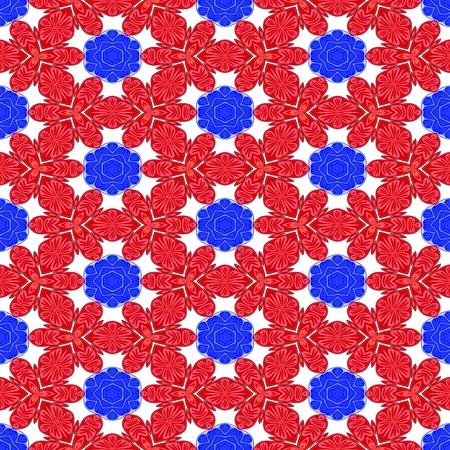 optimistic: Red blue white decorative kaleidoscopic fractal floral starry regular mirroring vibrant optimistic playful beautiful pattern Stock Photo