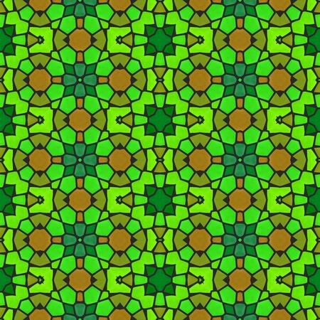 polychromatic: Abstract yellow orange green retro ornamental mosaic seamless pattern