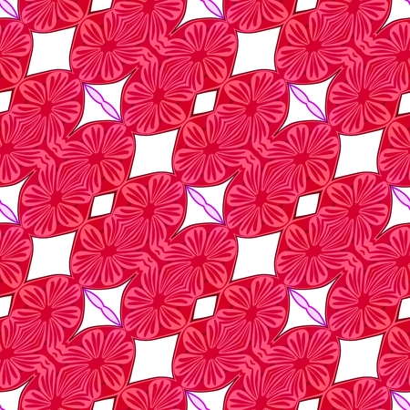 able: Red pink white decorative ornamental abstract tile able floral pattern Stock Photo