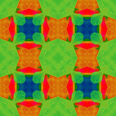 secession: Abstract decorative cubist red orange green blue kaleidoscopic seamless pattern