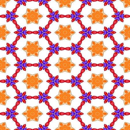 starlit: Orange red blue white decorative kaleidoscopic fractal floral starry regular mirroring vibrant optimistic playful beautiful pattern