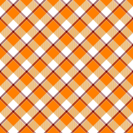 hanky: Orange weaved textile check diagonal plaid pattern - computer generated background