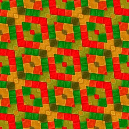 sidelong: Mosaic kaleidoscope diagonally red green orange stripes background Stock Photo