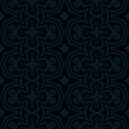 Dark blue abstract kaleidoscopic decorative seamless pattern Stock Photo