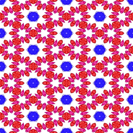 starlit: Blue red white decorative kaleidoscopic fractal floral starry regular mirroring vibrant optimistic playful beautiful pattern