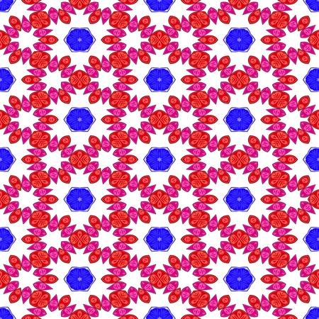 optimistic: Blue red white decorative kaleidoscopic fractal floral starry regular mirroring vibrant optimistic playful beautiful pattern