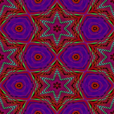 Kaleidoscopic red purple gray decorative starry floral tile - digitally rendered seamless colorful pattern Stock Photo