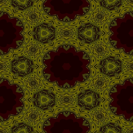 secession: Abstract decorative seamless secession style filigree arabesque fractal gold brown petal pattern