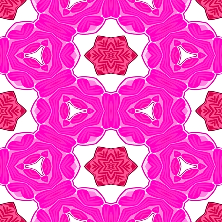 tile able: Red pink white decorative ornamental abstract tile able floral pattern Stock Photo