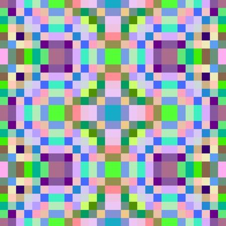 pixelation: Colorful seamless pixelated kaleidoscope pattern Stock Photo