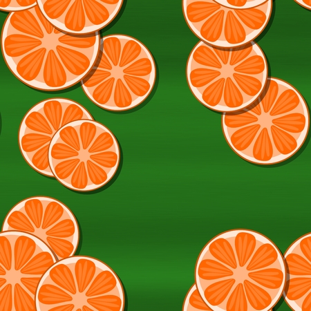 motive: Decorative orange green seamless pattern with cartoon stylized tangerine or pomelo citrus motive