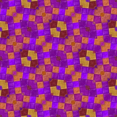 diagonally: Abstract violet purple orange red yellow oblique ornamental mosaic seamless pattern Stock Photo