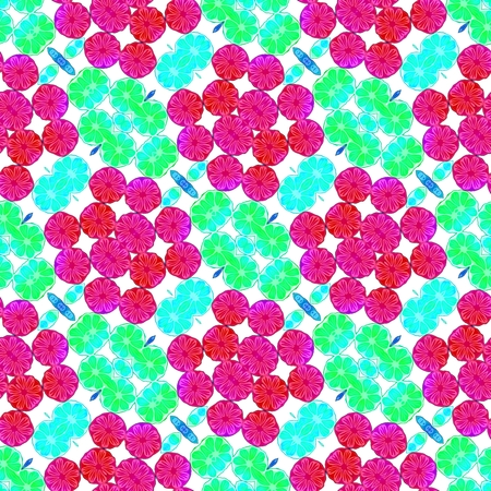 secession: Floral red turquoise decorative oriental fractal seamless pattern