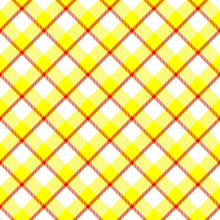 hanky: Yellow red white weaved fabric check diagonal plaid pattern - digitally rendered background