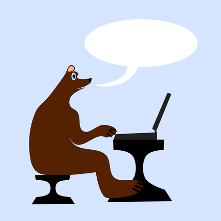 commentator: Brown bear sitting on a chair at a table and writes to a laptop and talking. Illustration