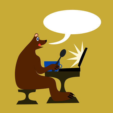 mouth screen: Happy brown bear sitting on a chair at the table and licks it. Ahead of him is a blue bowl and a spoon in the paw. Before him is a laptop with a glowing screen. At the mouth of a communication bubble. Illustration