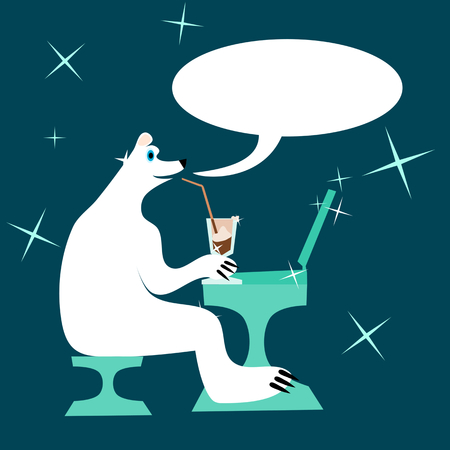 home comforts: Cartoon polar bear drinking iced coffee and writing to laptop