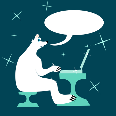 webmaster: White polar bear sitting on a chair at a table and writes to a laptop and talking. Illustration