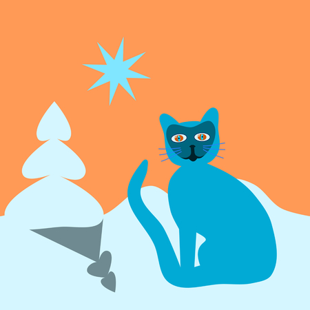 burmese: Turquoise blue psychedelic cat, with racoon mask, flopping tail - in snowy landscape with small spruce, under orange sky with star.