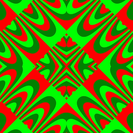 mirroring: Abstract kaleidoscope red green fractal mirroring seamless ornamental pattern