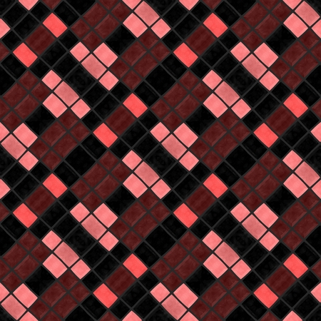 skew: Abstract checkered cubist red pink brown black oblique mosaic tile pattern