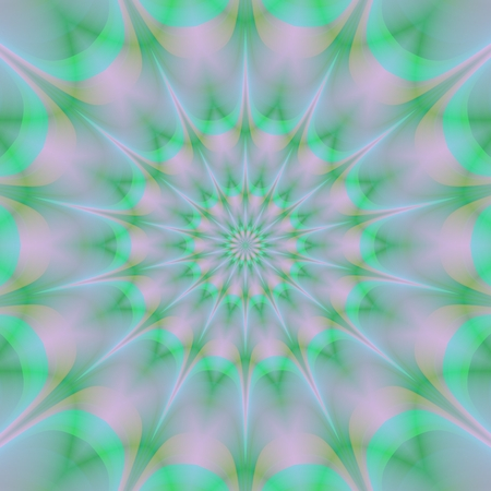 centralized: Regular green pink gray centralized abstract floral mandala pattern