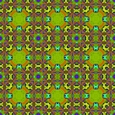 inspired: Abstract fractal kaleidoscopic seamless floral decorative design in op art color style inspired by traditional Central American patterns